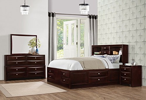 Roundhill Furniture Ankara Wood Bedroom Set, Includes King Bed, Dresser Mirror with Nightstand, Espresso by Roundhill Furniture