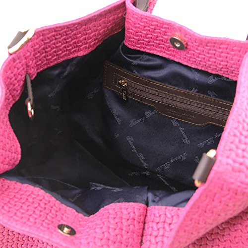 Tuscany Leather TL KeyLuck Borsa shopping TL SMART in pelle stampa intrecciata - Misura Grande Turchese Magenta