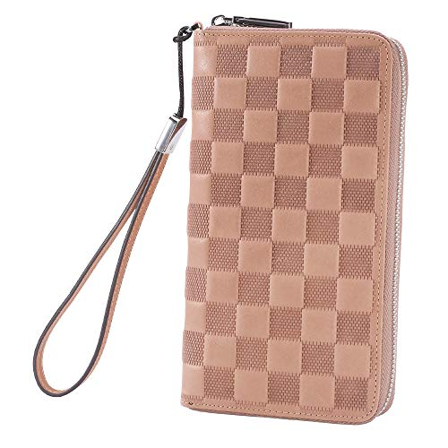 AINIMOER Women RFID Blocking Wallet Leather Zip Around Phone Clutch Large Multi Card Zipper Clutch Purse