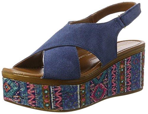 Comb Sandals 28395 853 MARCO WoMen Blue premio Denim Heels Wedge TOZZI qqY6Azx