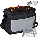 Elantrip Collapsible 12 Can Insulated Lunch Cooler Bag with Ice Pack Leakproof Lunch Cooler Box with Shoulder Strap for Outdoor Picnic Hiking Camping, Black and Gray
