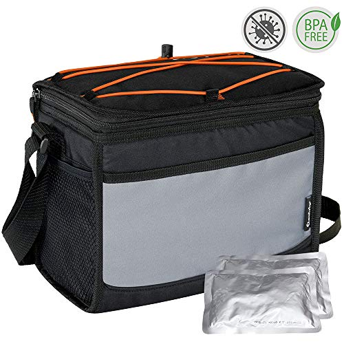 Elantrip Collapsible 12 Can Insulated Lunch Cooler Bag with Ice Pack Leakproof Lunch Cooler Box with Shoulder Strap for Outdoor Picnic Hiking Camping, Black and Gray ()
