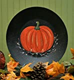 Finished Primitive Painted Fall Pumpkin Display Plate for Home Decor, and Designing