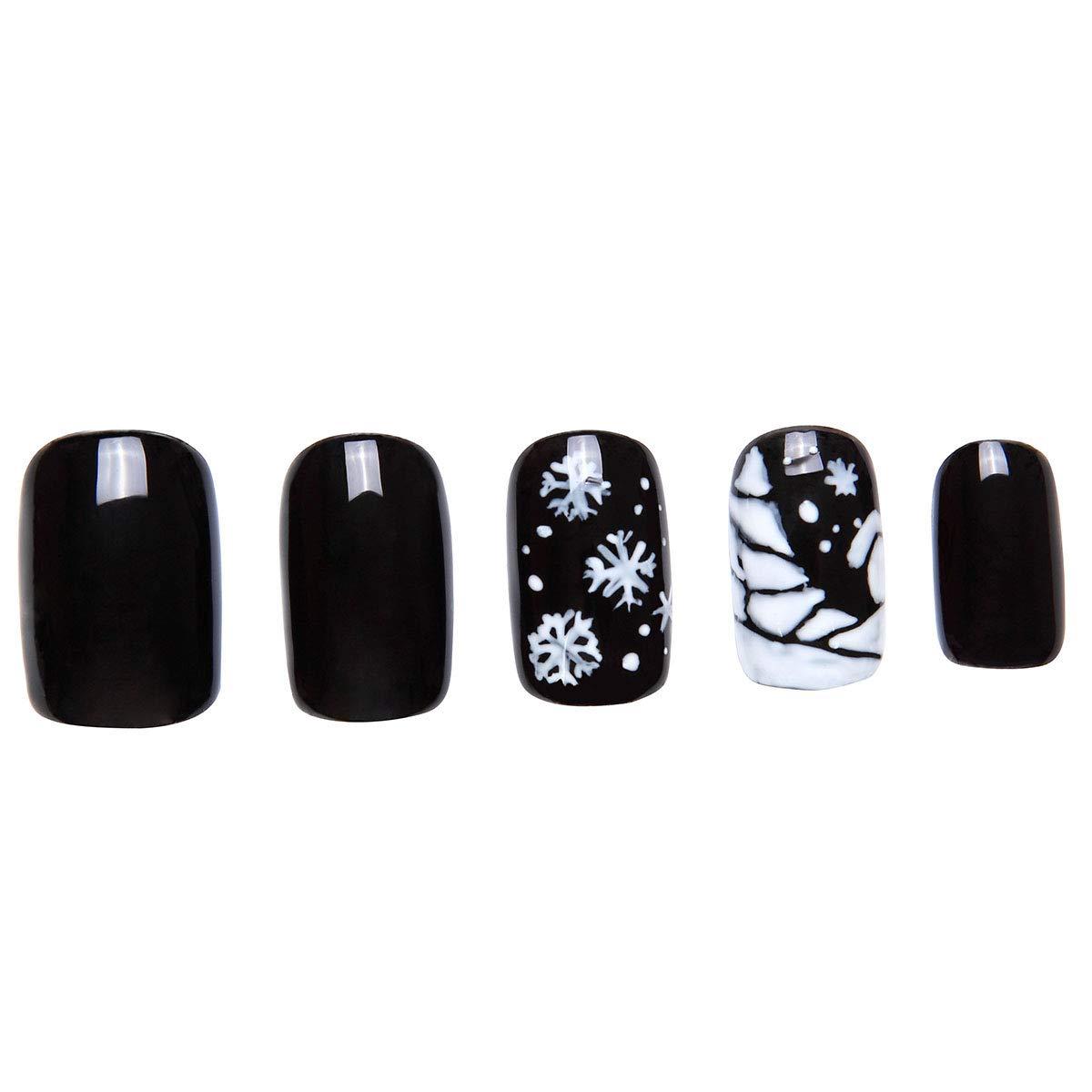 Amazon.com : 24 Pcs of 12 Different Sizes Handmade Navidad Tranquila Finger Fake Nail for Christmas : Beauty