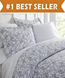 Difference Between Cal King and King Bed Celine Linen Luxury Silky Soft Coziest 1500 Thread Count Egyptian Quality 3-Piece Duvet Cover Set |Coarse Paisley Pattern| Wrinkle Free, 100% Hypoallergenic, King/California King, Navy Blue