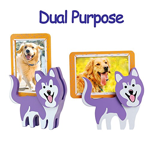 Picture Frame Pet Stocking (Valery Madelyn Pet Picture Frame Dog Memorial Gifts with Detachable Doggie Stands, 3.5x5 Inch Wood Photo Frame(Siberian Husky))