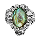 Beydodo Mens Silver Ring, Skull Ring Colorful Cubic Zirconia Size 11 Punk Biker Ring Bands