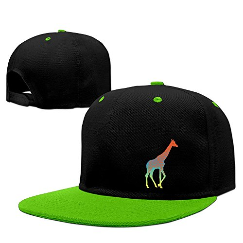 Cool Fancy Design Giraffe Colorful Long Neck Hip-Hop Baseball Cap KellyGreen ()