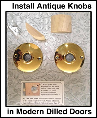 (Antique Knob Retrofit Kit to Fit Modern Pre-Drilled Doors. If you have the Antique Knobs, Tubular Latch and Spindle this is your Retrofit kit. (Polished Brass) )