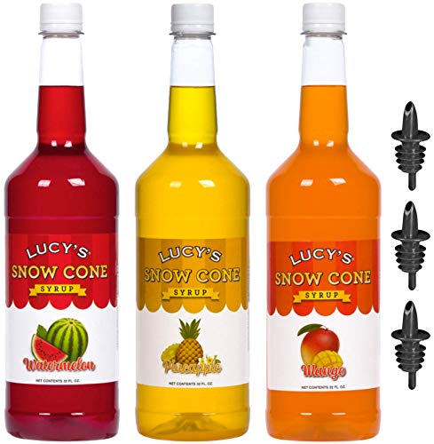 Lucy's Shaved Ice Snow Cone Syrups with Pourers - Watermelon, Pineapple, Mango - 32oz Syrup Bottles (Pack of 3) (Tropical Pack) (Sugar Free Syrup Snow Cone)