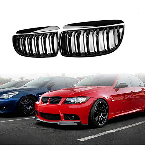 Front Kidney Grille Hood Grills -Double Line For 2005-2008 BMW E90 Sedan Wagon 323i 328i 335i 330i 325i 3-Series(Gloss Black)