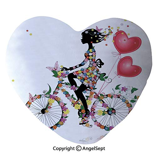AngelSept Heart Shaped Throw Pillows Flower Girl Bike with Balloons Valentine Bicycle Fairy Fashion Woman Heart Teen Girls Decor Decorative Home Sofa Cushion Couple Gifts, for Her,Party Decorati