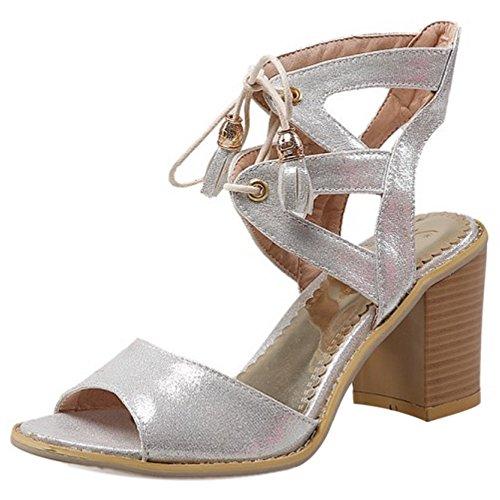 COOLCEPT Women Fashion Lace Up Sandals Open Toe Block Heel Slingback Shoes Silver
