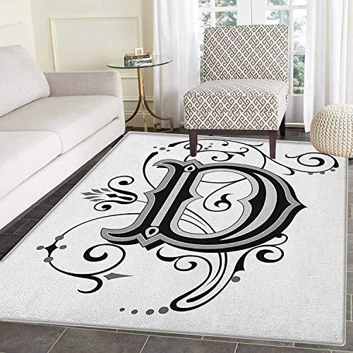 Medieval Letter 2 (Letter D Rug Kid Carpet Initial Letter from Medieval Scrolls Capital D Symbol Medieval Design Print Home Decor Foor Carpe 2'x3' Black Grey White)
