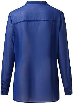 VJGOAL Camisas para Mujer Talla Grande Casual Moda Color Sólido Camisetas de Manga Larga Gasa Tops con Arco Blusas Otoño: Amazon.es: Ropa y accesorios