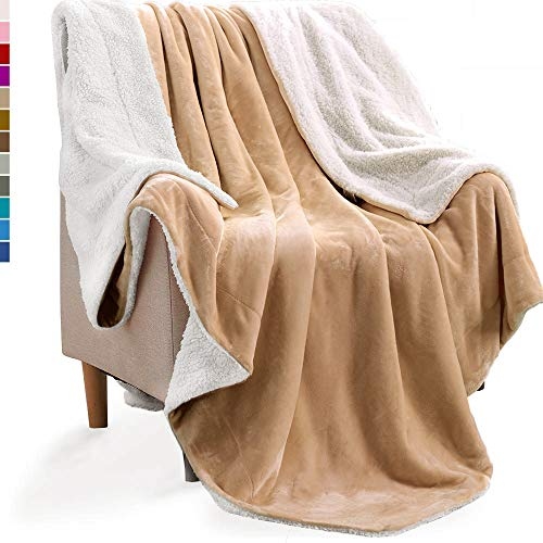 KAWAHOME Sherpa Fleece Blanket Super Soft Extra Warm Thick Winter Blanket for Couch Sofa Bed Queen Size 90 X 90 Inches Tan