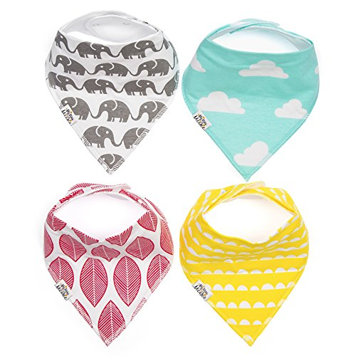 My Mini McGee Baby Bandana Bibs with Adjustable Snaps, 4 Pack, for Boys and Girls, Infants and Toddlers, Trumpet Collection, Baby Gift