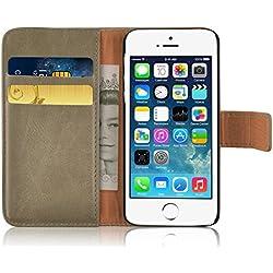 Cover iPhone 5s, JAMMYLIZARD Custodia Retro Wallet a Libro in Pelle per iPhone 5 e 5s e iPhone SE, CAPPUCCINO