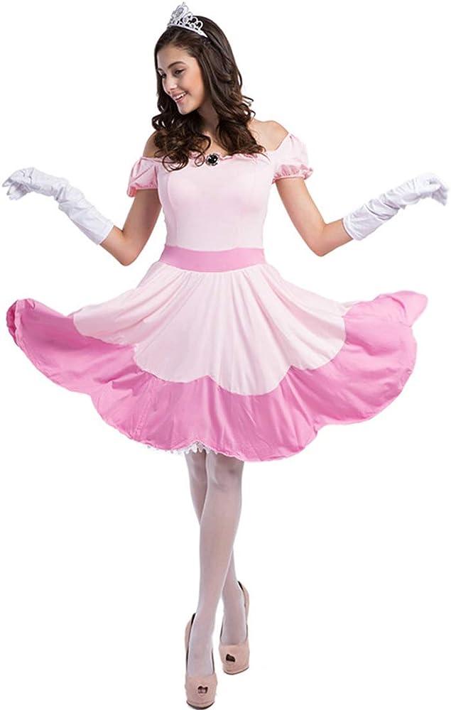 ZZTO Disfraz de Princesa Peach Princesa Rosa, Tiara y un par de ...