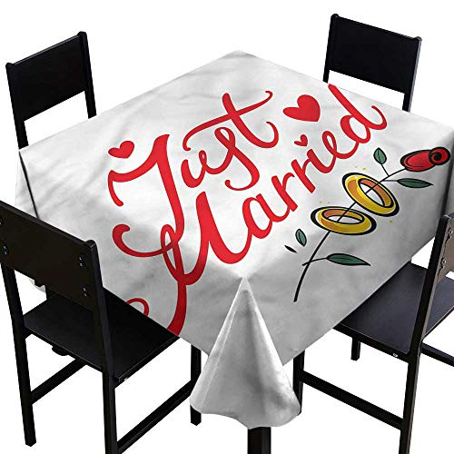 (haommhome Wrinkle Resistant Tablecloth Wedding Just Married Rose Rings and Durable W60 xL60 Washable Polyester - Great for Buffet Table, Parties, Holiday Dinner, Wedding & More )