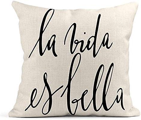Kinhevao Cojín España Frase española La Vida es Bella Texto Abstracto Artístico Belleza Cojín de Lino Almohada Decorativa para el hogar: Amazon.es: Jardín