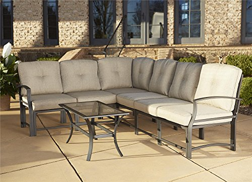 Cosco Outdoor 7 Piece Serene Ridge Aluminum Sofa Sectional Patio Furniture Set with Cushions and Coffee Table, Dark Brown