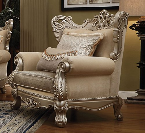 - Major-Q P7051042 Luxurious Traditional French Style Champagne Finish Fabric Chair for Living Room