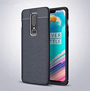 Non-slip resistant Oneplus 6 phone case business style blue phone shell anti fall phone protective