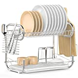 #10: Dish Drying Rack, iSPECLE 2-Tier Dish Rack with Utensil Holder, Cutting Board Holder and Dish Drainer for Kitchen Counter, Plated Chrome Dish Dryer Silver
