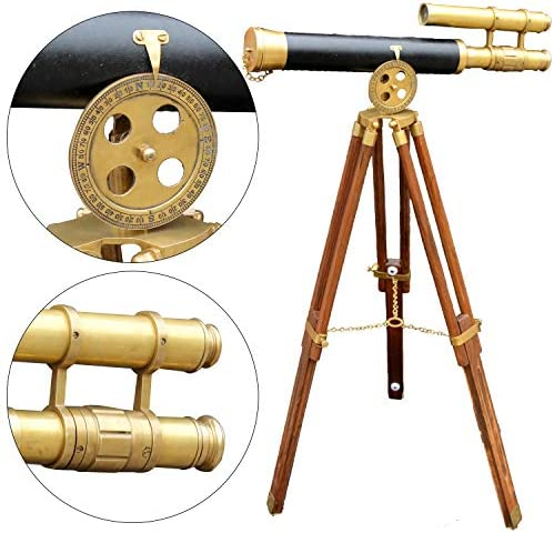 Nautical Floor Standing Antique Brass Leather Telescope with Brown Wooden Tripod Scope