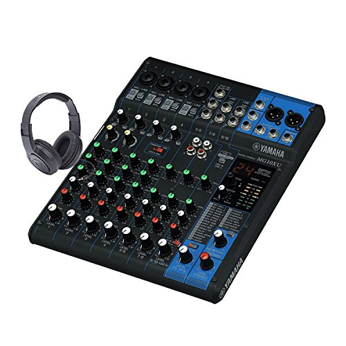 Yamaha MG10XU 10-Channel Mixing Console with Samson Stereo Open-Ear Headphones (Mixing Yamaha Consoles)