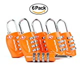 TSA Approved Luggage Locks for Travel 4 Digit Combination for Suitcases 6 Pack
