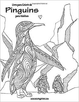 Livro Para Colorir De Pinguins Para Adultos Portuguese Edition