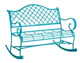 Gifted Living Powder Coated Metal Rocker Bench, Turquoise For Sale