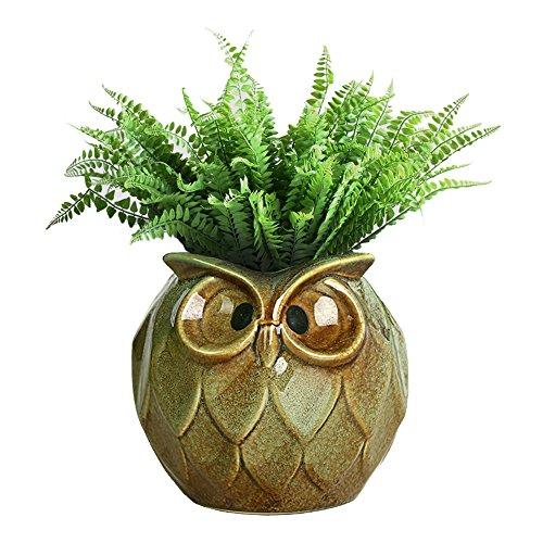 GeLive Green Owl Ceramic Succulent Plant Pot Animal Planter Tabletop Decoration Vase Window Box (Green Large Owl)