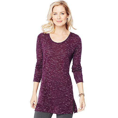 Hanes by Women's Lightweight Space-Dye Vented Tunic_Plum Port (Hanes Port)