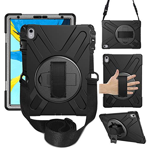iPad Pro 11 Case, Heavy Duty Shockproof Protective Case with 360 Degree Rotating Hand Strap, Kickstand and Carrying Shoulder Strap, 3 Layer Hybrid Kids Case for iPad Pro 11 Inch 2018 Release(black)
