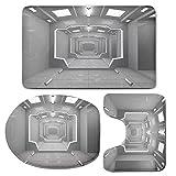 3 Piece Bath Mat Rug Set,Outer-Space-Decor,Bathroom Non-Slip Floor Mat,Supernatural-Science-Based-Light-Travel-to-Planet-Solar-System-Explore-Image,Pedestal Rug + Lid Toilet Cover + Bath Mat,Gray