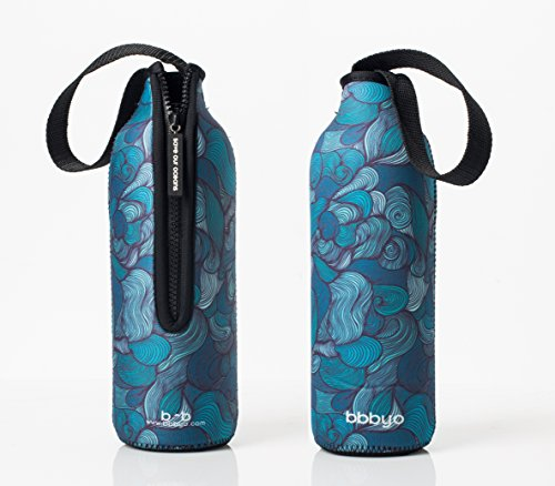 "Bottleskinn by BBBYO Neoprene Insulated Carry Cover - 170z/500ml and 25oz/750ml sizes. Fits BBBYO, S'well, Minimal, Mira, Water Vault and Cayfit ""cola"" style steel bottles"