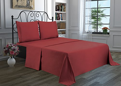 4 Piece Solid Bedsheet Set with 2 Pillow Cases & 1 Deep Pocket Fitted & 1 Flat Sheet Wrinkle-Free Stain Resistant Extra Soft Breathable Hypoallergenic Brushed Microfiber Bedding Sheets Burgundy-Queen