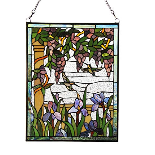 Makenier Vintage Tiffany Style Stained Art Glass Wisteria and Hummingbirds Window Panel Wall -