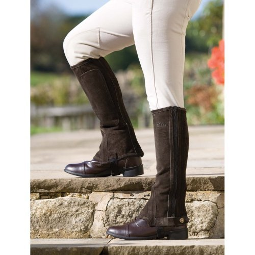 Shires Adult Suede Half Chaps, Brown, - Adults Half Chaps