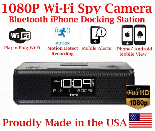SecureGuard 1080P HD WiFi iPhone iPod Docking Station Bluetooth Clock Radio Security Nanny Cam Spy Camera with Hidden 16GB SD Card (100% ()