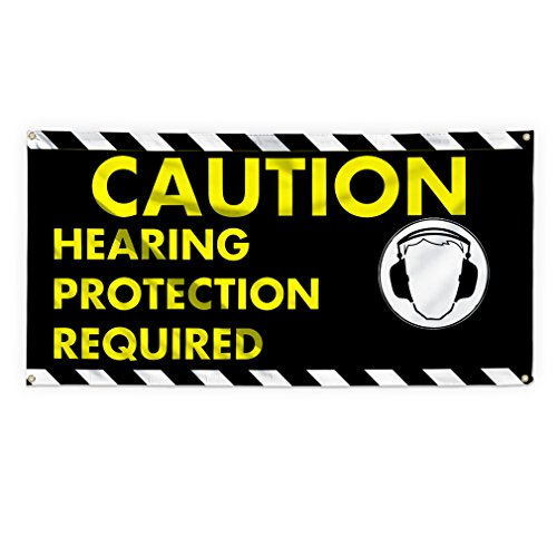 Protection Required (Caution Hearing Protection Required Outdoor Advertising Printing Vinyl Banner Sign With Grommets - 3ftx6ft, 6 Grommets)