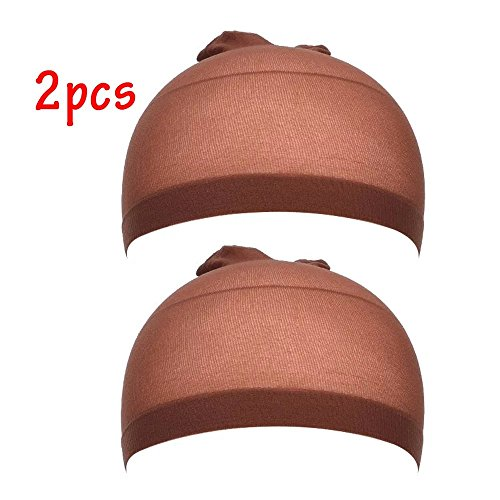 [EYX Formula Pack of 2 Soft Nylon Tight Light Wig Cap ,Stretch Cover Wig Cap for Protecting Head and Hair] (Coffee Costumes Homemade)