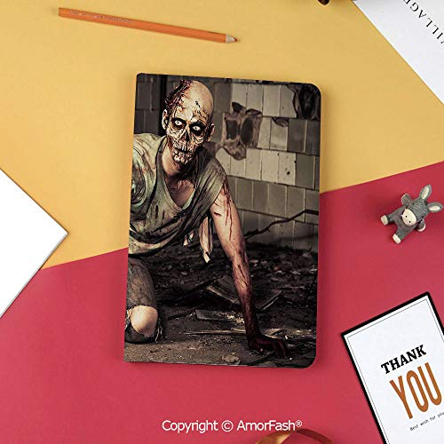Printed Slim Magnetic Folding PU Flip Cover for Samsung Galaxy Tab S3 9.7,Zombie Decor,Halloween Scary Dead Man in Old Building with Bloody Nightmare Theme,Grey Mint Peach]()