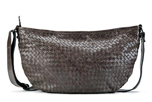 Leather Woven Handbag (La Poet Women's Genuine Leather Woven Weave Crossbody Hobo Satchel Shoulder Bag (Grey))