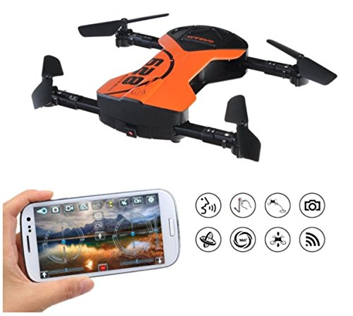 RC Headless Quadcopter Drone with HD Wi-Fi Camera 628 FPV Foldable RC Drone with App Voice Control 2.4Ghz 6-Axis Gyro RC Quadcopter RTF/BNF for Kids & Beginners – Altitude Hold, One Key Start