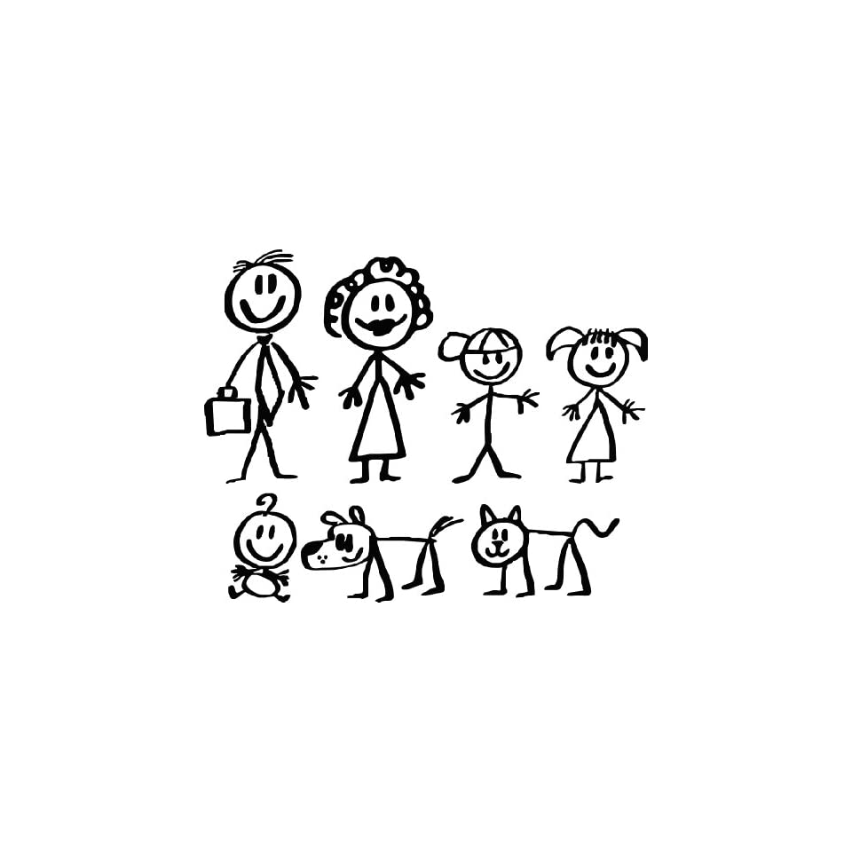 Stick People Family Car Decals Stickers,one Free Assorted Chinese Rubber Duck with Every Order