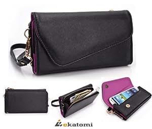 [Urban] Universal Phone Cover Women's Wallet Wrist-let fits Samsung A867 Eternity - BLACK & PURPLE